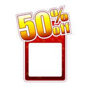 Fifty percentage off label with text space Stock Illustration