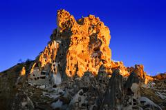 rocks of cappadocia in central anatolia, turkey - stock photo
