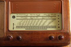 old transistor radio 1950 years in burr walnut and the stations names - stock photo