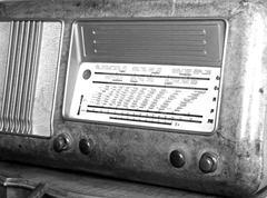 Superheterodyne transistor radio under the name of radio stations and the adj Stock Photos