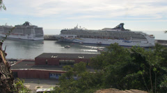 Overlooking cruise liners berthed in funchal marina Stock Footage