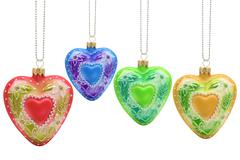 heart shaped christmas baubles - stock photo