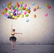 dancer with balloons - stock illustration
