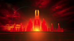 Abstract virtual city, red version Stock Footage