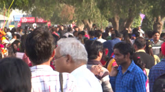 Crowd in a trade fare - stock footage
