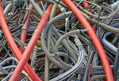 storage of skeins of cord used thrown in a landfill for industrial waste - stock photo