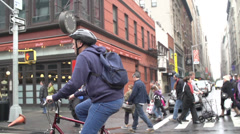 Stock Video Footage of Man Bicycle Helmet New York City Traffic Street NYC Slow Motion Manhattan