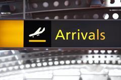 Arrivals airport sign Stock Photos