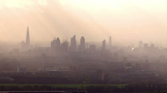 Aerial view of the London skyline on a hazy autumn morning Stock Footage