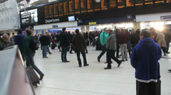 Waterloo station with hectic crowd Stock Footage