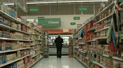 Woman shopping cheese section grocery store POV HD 1122 Stock Footage