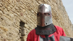 Crusader in light armor while practicing (fight with a shadow) Stock Footage