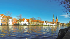 Skyline of the medieval city of Lubeck, Germany Stock Footage