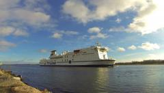 Cruise ship at Travemuende bay, Germany (Time Lapse) Stock Footage