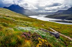 scenic view of the lake and mountains, inverpolly, scotland - stock photo