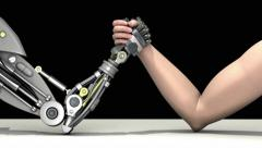 Arm wrestling. Man vs robot. Man wins. Stock Footage