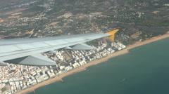 Airbus A321 plane turns leaving Faro, Portugal. Stock Footage