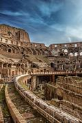 View of the Colosseum Amphitheater in Rome Stock Photos