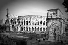 view of the Colosseum Amphitheater in Rome - stock photo