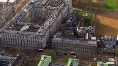 Aerial view above Downing street in London's city of Westminster Stock Footage