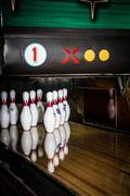 High Res - Bowling pins in retro lane, great shot - stock photo