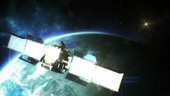 Beautiful view of Satellite Orbiting the Earth. HD 1080. Stock Footage