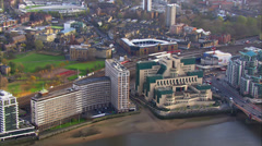 Aerial view of the Vauxhall Cross, home to the British Intelligence Services - stock footage