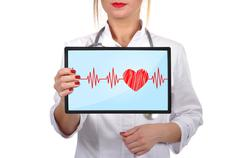 heartbeat on touch pad - stock photo
