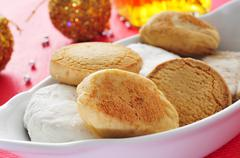 Mantecados and polvorones, typical christmas sweets in spain Stock Photos