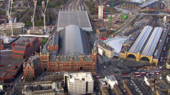 Aerial view over Kings Cross railway station in London Stock Footage
