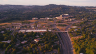 Stock Video Footage of Wide aerial shot of Providence St. Vincent Medical Center and the interchange