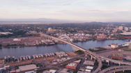 Stock Video Footage of Wide aerial shot of the Fremont Bridge spanning the Willamette River