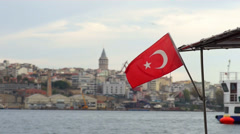 Boat with turkish flag Stock Footage