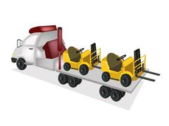 A tow truck loading a car after an accident Stock Illustration