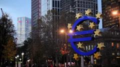 Euro Sign - Willy Brandt Platz in Frankfurt Stock Footage
