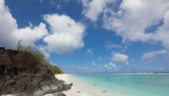 Beach on Cook Island in Rarotonga Polynesia time lapse Stock Footage