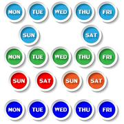 days buttons - stock illustration