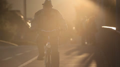 Old men and his bike at Aare Bridge Stock Footage