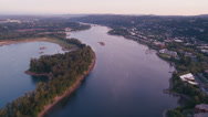 Stock Video Footage of Wide aerial shot following Willamette River by Ross Island while approaching Toe