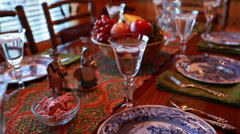 a table set for the thanksgiving dinner - stock footage