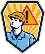 Contractor construction worker caution sign retro Stock Illustration