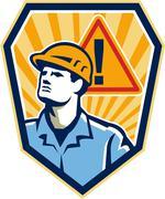 Urakoitsijan rakennusalan työntekijä varovaisuutta merkki retro Piirros