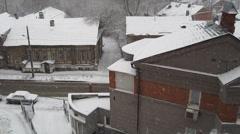 First snow in November on the historic Gogol street Nizhny Novgorod Russia - stock footage