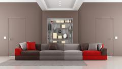 contemporary brown livingroom - stock illustration