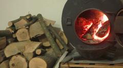 Wood Burning Stove 1 Stock Footage