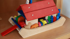 a cute wooden toy of noahs ark - stock footage