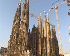 Tilt up Sagrada Familia under construction, southeast facade,june 2002 Stock Footage