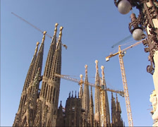 Tilt up Sagrada Familia under construction, southeast facade, june 2002 Stock Footage