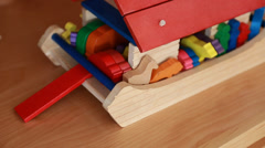 Wooden toy ark Stock Footage