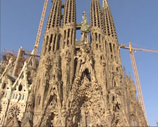 BARCELONA - tilt up nativity facade Sagrada Familia under construction Stock Footage